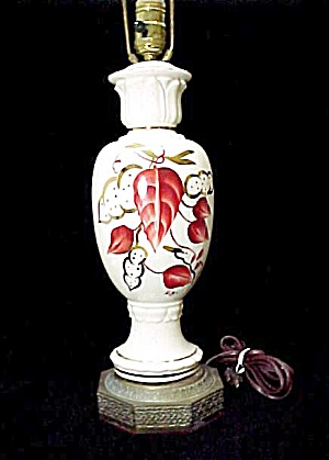 1940 Vintage Art Pottery Table Lamp Hand Painted Signed