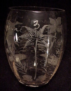 Steuben Art Glass Tropical Floral Etched Tumbler Vase