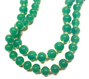 Vintage Faux Jade Glass Necklace 60 inch 6mm beads (Image1)