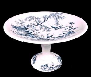 Blue Transferware Stork Compote H&C Ironstone Porcelain (Image1)