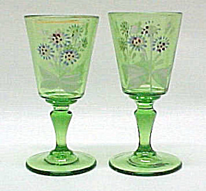2 Victorian Green Wine Art Glass Enameled Flower Floral (Image1)