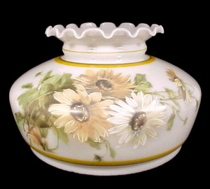 Milk Glass Student Lamp Shade 10 in Daisy Floral Table Chandelier (Image1)