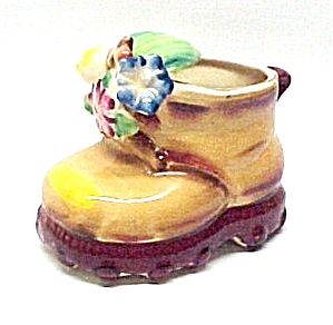 Baby Shoe Figural Pottery Planter Made in Japan Vintage (Image1)