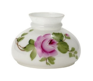 Rose Milk Glass 7 inch Student Kerosene Oil Lamp Shade (Image1)