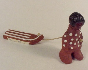 Illums Bolighus Miniature Boy and Sled Figurine Danish Modern (Image1)