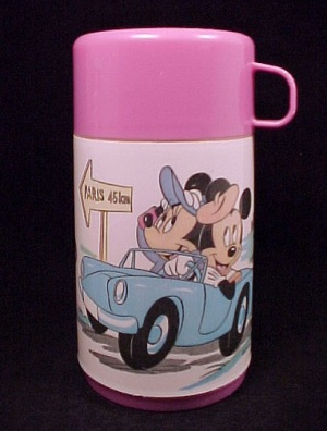 Mickey Minnie Mouse In Paris Aladdin Thermos Disney Plastic