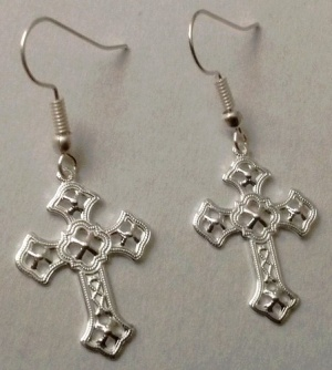 Ornate Christian Cross Drop Dangle Earrings Hook Sterling Silver Plate (Image1)
