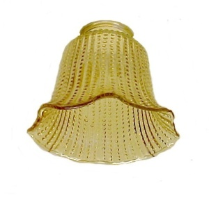 Light Shade 2 1/4 in Bell Amber Ribbed Chandelier Wall Sconce Ceiling  (Image1)