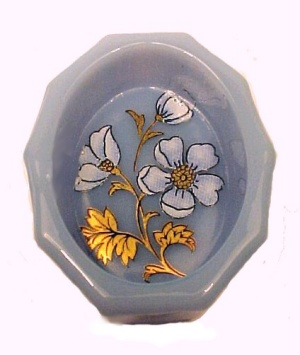 Delphite Floral Open Salt Dip Cellar Milk Blue Glass