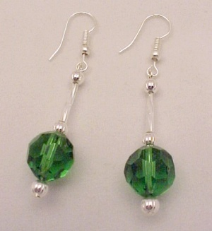 Green Faceted Glass 12mm Ball Dangle Earrings Silver Plated Hooks