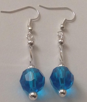 Blue Faceted Glass 12mm Ball Dangle Earrings Silver Plated Hooks
