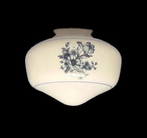 Blue Floral White Milk Glass Ceiling Fan Light Shade Schoolhouse (Image1)
