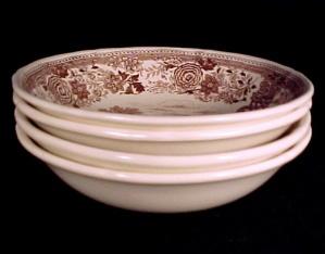 4 Mettlach Villeroy & Boch Brown Burgenland Cereal Bowls (Image1)