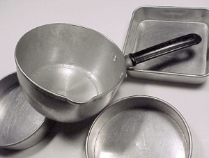 Childs Aluminum Toy Sauce Pan 3 Baking Cake Pans Round Square Vintage