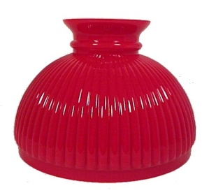 10 in Red Ribbed Glass Student Lamp Shade Light (Image1)