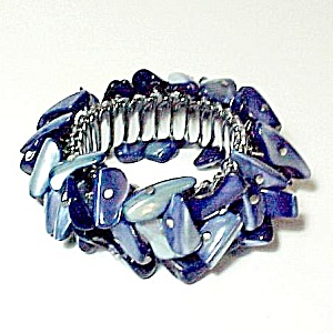 Blue Mother of Pearl Expandable Bracelet Vintage Mop (Image1)