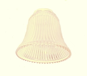 Pale Amber Light Shade Clear Ribbed Bell Ceiling Fan Wall Sconce AS IS (Image1)