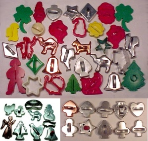 10 Cookie Cutters Aluminum Steel Red Wood Knob Bell Chicken