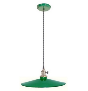 Industrial Style Pendant Light Fixture w Green 14 in Shade Porcelain  (Image1)