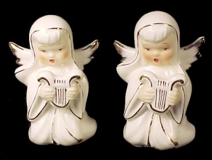 2 Vintage Singing Angel with Harp White & Gold Gilt Japan (Image1)