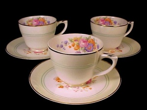3 Pope-Gosser China Demitasse Cup & Saucer Floral Bouquet (Image1)
