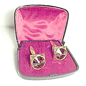Amber Gold Rivoli Faceted Rhinestone Cuff Links Vintage (Image1)