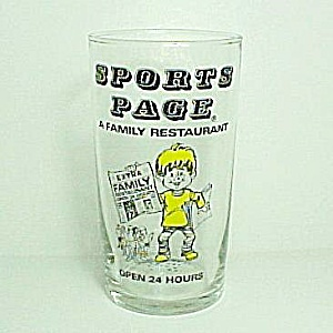 Sports Page Family Restaurant Souvenir Drinking Glass