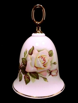 Danbury Mint Bone China Collectible Bell Pascali Rose