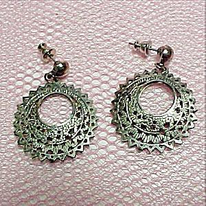 Silver Pierced Style Hoop Dangle Earrings Vintage (Image1)