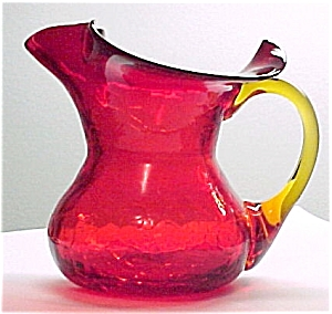 Rainbow Crackle Glass Pitcher Jug Ruby Red
