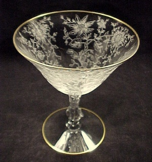 Cambridge Wildflower Sherbet W/ Gold Elegant Depression Glass