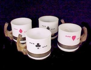 Siesta Ware Card Suit Set of 4 Cups Coffee Mugs Ace Spade Heart Club (Image1)