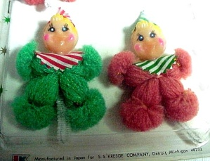 3 Yarn Doll Christmas Package Chenille Ties SS Kresge Ornaments Elves (Image1)