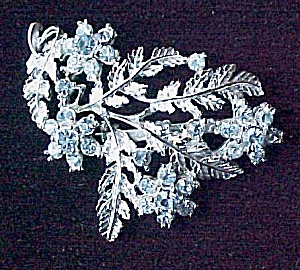 Ice Blue Faceted Rhinestone Floral Brooch Pin Coro (Image1)