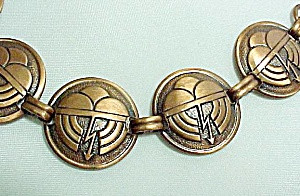 Copper Bracelet Art Deco Design Vintage Jewelry (Image1)