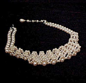 Unique Art Deco Pearl Choker Necklace Pale Pink Vintage (Image1)