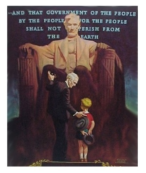 Vintage Art Litho Print Abraham Lincoln Memorial Child