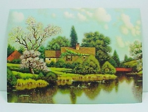 Vintage 1940s Art Litho Print Friendly Cottage Ducks