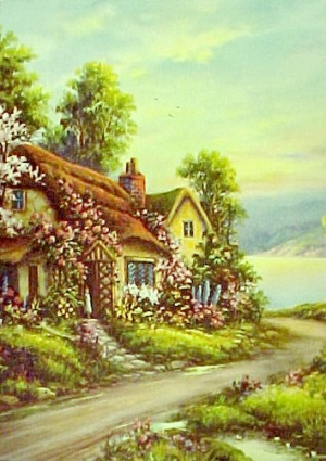 Vintage 1940s Art Litho Print Spring Cottage Blossoms Calendar Photo