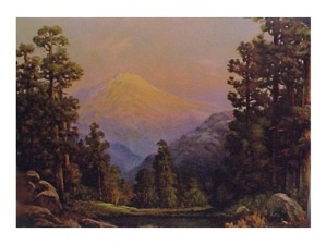 Vintage 1940s Litho Art Print Forest & Mountain Scene