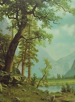 Vintage 1940s Litho Art Print Lithograph Trees Mountain Scene
