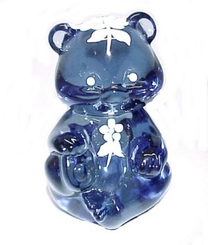 Fenton Art Glass Hyacinth Blue Teddy Bear Hand Painted (Image1)