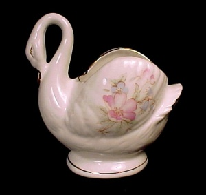 Lefton Bone China Swan Pink Blue Pastel Floral Vintage