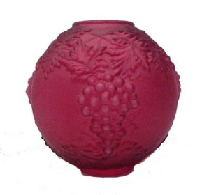 Red Gone With The Wind Lamp Shade Glass Ball Oil Globe Grapes As Is