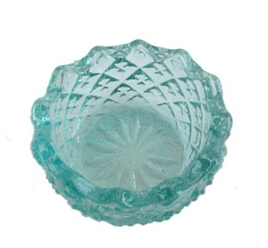 Sawtooth Aqua Glass Open Salt Dip Cellar Dish (Image1)