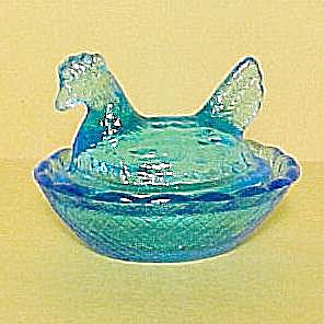 Blue Flame Glass Hen On Nest Chick Salt Dip Cellar