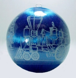 Christmas Tree Ornament 1981 Hummelwerk Train Blue Satin Ball