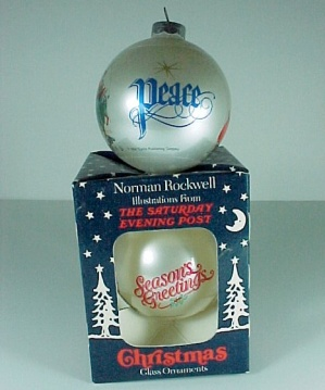 Christmas Tree Ornament Glass Two Norman Rockwell Ball