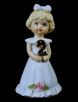 Enesco 1981 Growing Up Birthday Girl 2 Figurine Miniature (Image1)