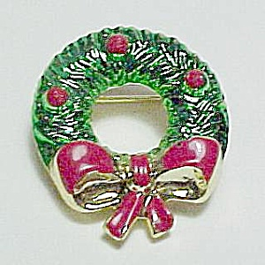 Christmas Wreath Brooch Pin Enameled Enamel Vintage (Image1)